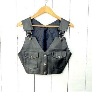 Vintage 90's Neutral Zone Vegan Leather black vest